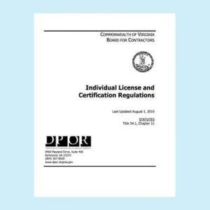 Book Image Virginia Board for Contractors, Individual License Cert Regulations